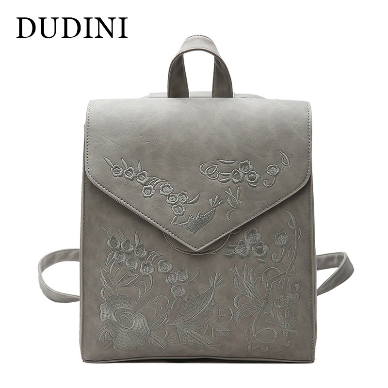 DUDINI Embroidery New Soft Leather Shoulder Bag Female Korean Fashion Preppy Style Students Bag Large Capacity