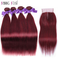 Bold Red 99J Brazilian Straight Hair 4 Bundles With Closure Burgundy Human Hair Weave With Closure