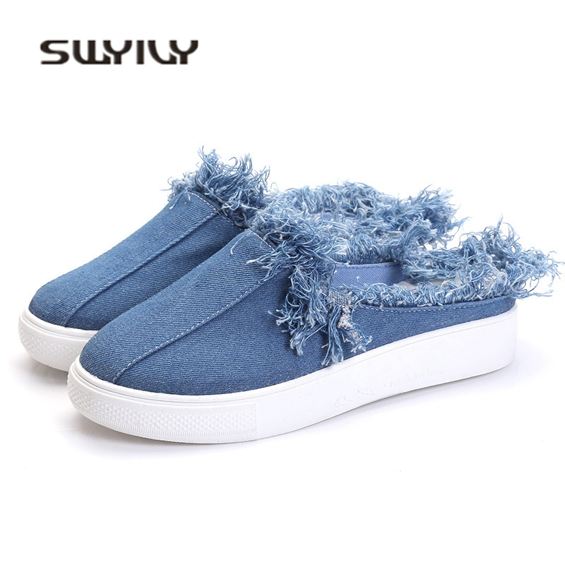 SWYIVY Women's Slipper Denim Canvas 2018 Woman Casual Shoes Flat Slip On Lazy Shoes Outside Wearing Canvas Slides 40 Comfortable swyivy women sneakers light weight 2018 41 woman casual shoes slip on lazy shoes comfortable candy color breathable net shoe