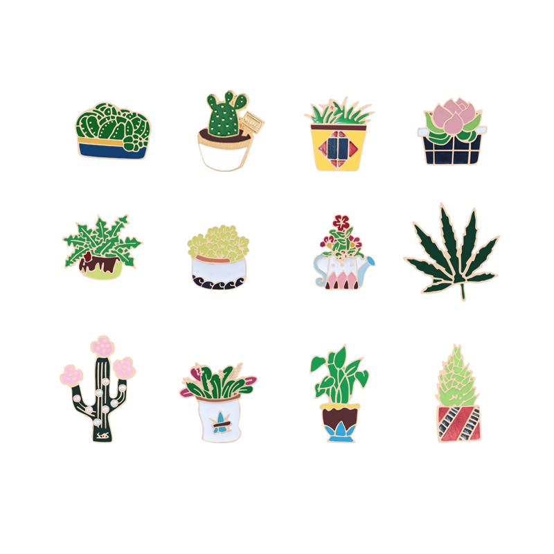 12 Stil Mode Grüne Pflanze Brosche Emaille Pins Blume Kaktus Baum Blätter Wasserkocher Revers Schmuck Hemd Mantel Pullover Dekorative Pin 100% Original
