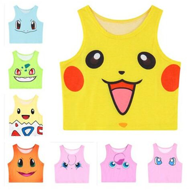 Pokemon Pattern Crop   Top   Women Camis Pikachu Charmander Squirtle Print   tank     tops   Colorful sleeveless Tee Vest