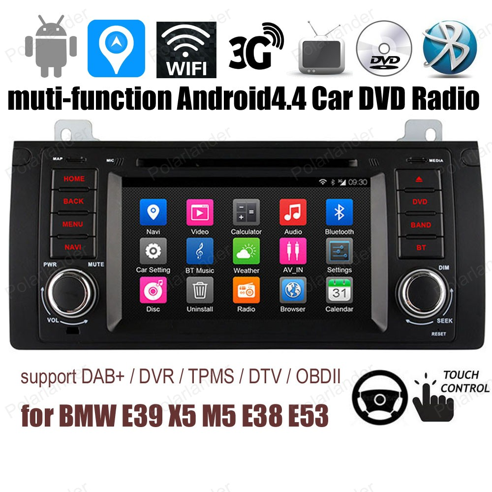 Android4.4 Support DVD de voiture DTV TPMS DAB + OBDII BT 3G WiFi GPS FM AM radio pour BMW E39 X5 M5 E38 E53 Quad Core