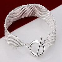 HS246 Wholesale 925 Silver Plated LINK Bracelet MESH ROUND TO LOCK 23CM 1 8CM