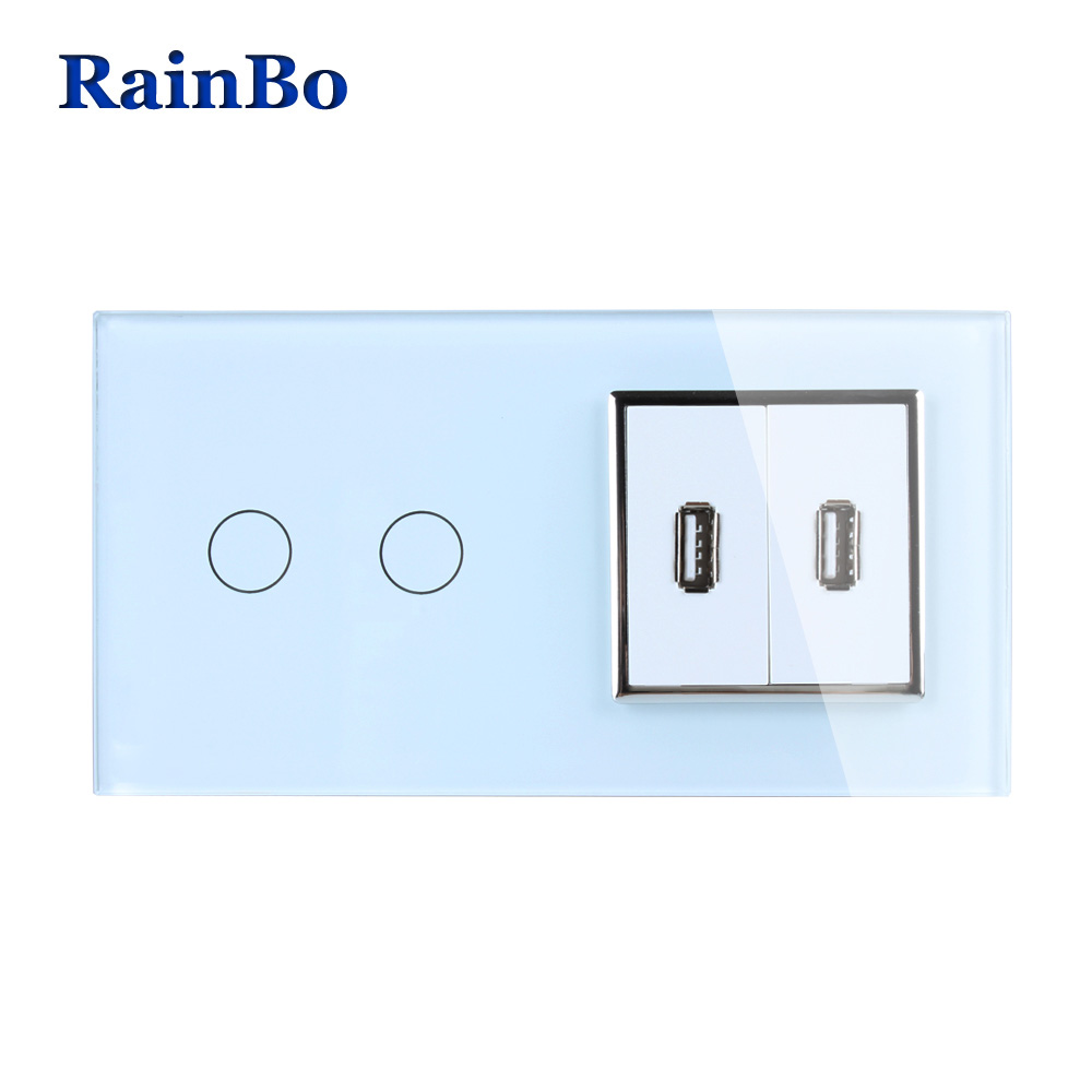 RainBo Touch Screen Control Tempered Crystal Glass Panel Wall Light Touch Switch Socket Wall Power USB Socket A29218E2USCW/B rainbo touch screen control tempered crystal glass panel wall light touch switch socket wall power usb socket a29118e2uscw b
