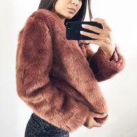 Vintage Faux Fur Coat Women Slim Short Shaggy Cardigan Long Sleeve Flurry Jackets Black White Green Red Pink Fur Coats for Lady