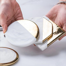 CFen As Gold Marble Coasters Ceramic Coaster Tea Cup Pad Round Table Mat Coffee Place Mats 1pc