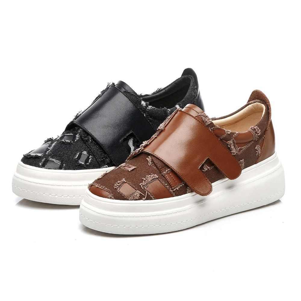 2019 retro tasarım inek deri denim yuvarlak ayak kanca ve döngü loafer'lar yuvarlak ayak med alt platformu sneakers vulkanize ayakkabı L2f3
