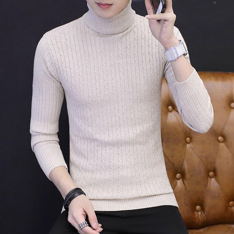 MYAZHOU Sweater Knit Male High-Neck Men's Fashion Warm Slim Twist Tight-Skin XS-XXL Elasticity