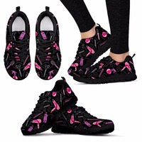 Twoheartsgirl Hair Stylist Printing Sneakers Women Mesh Shoes Breathable Lace up Flat Shoes for Woman Black/White Shoe Female