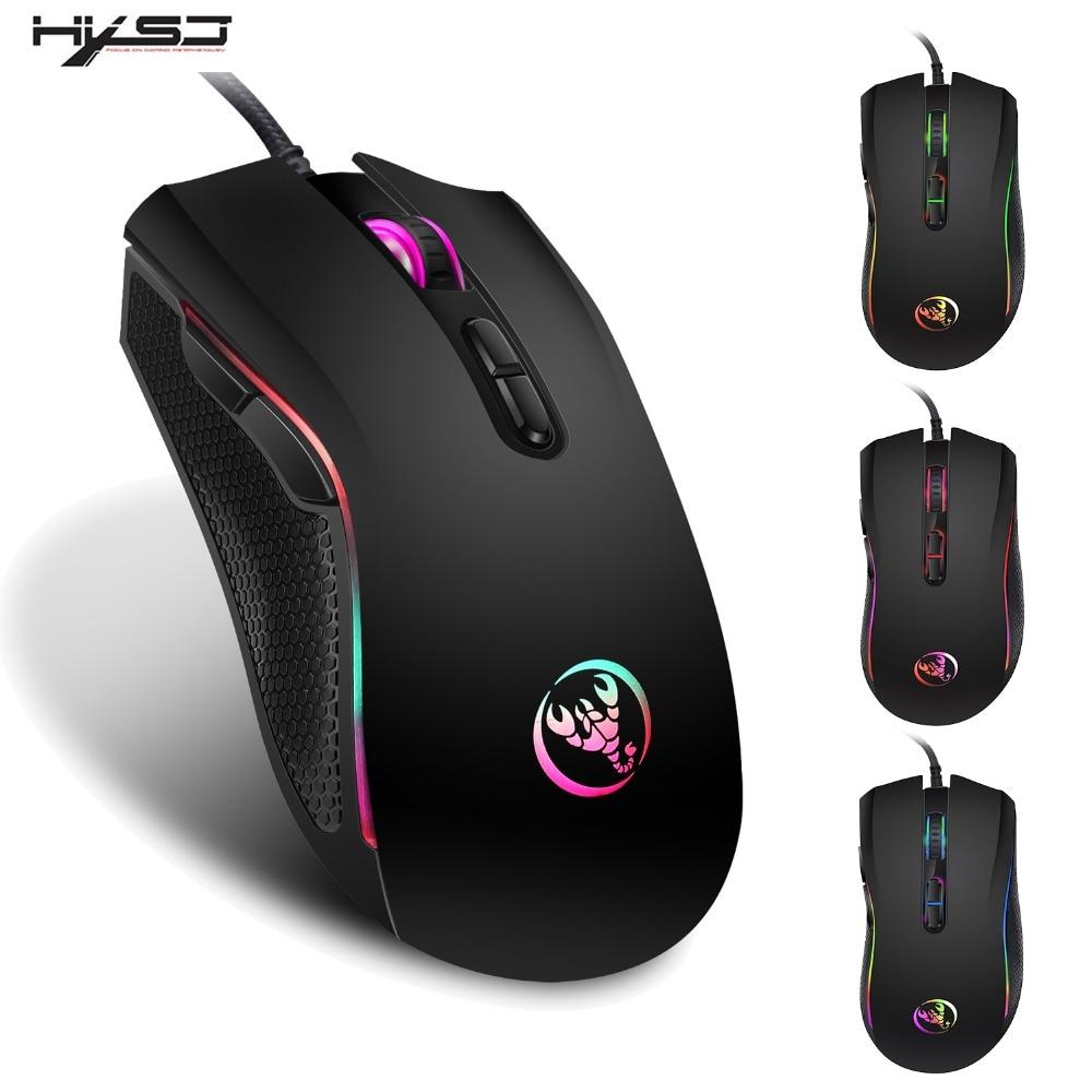 HXSJ 3200 dpi 7 Bottoni 7 colori LED USB Ottico Con Cavo Mouse Gamer Mouse computer mause mouse di Gioco Del Mouse Per pro Gamer