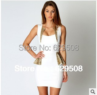 Top quality!! 2014 new arrival Sexy Drape Front Sequin Mini Dress white  sexy Deep U Dress career woman popular in european 232771ff96c3