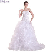 MisShow 2018 Vintage Organza Ball Gown Wedding dress Customized Plus Size Strapless Bridal Dress 2 Colors Vestido De Noiva