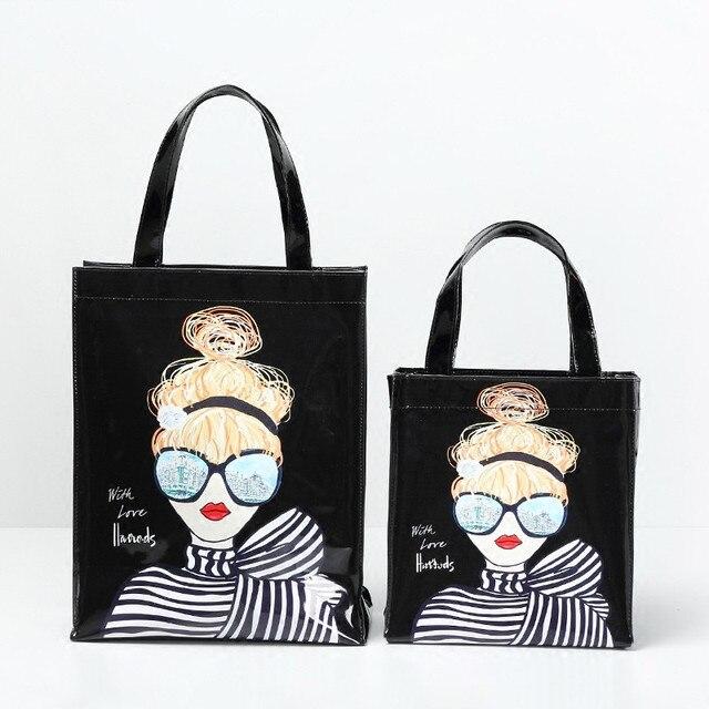 Fashion girl 2018 novo pvc saco de impressão bolsa grande capacidade à prova d' água sacola de compras diárias