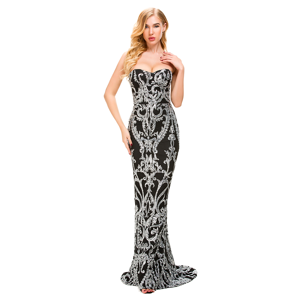 2019 Sexy Retro Geometry Strapless Stretch Sequin Dress Mermaid Floor Length Lining Bodycon Gold Backless Silver Party Dress