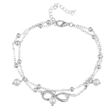 Fashion Simple Double Layers Beaded Anklets Chain Imitation Pearl Accessories Jewelry CX17