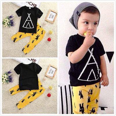 2016 Toddler Baby Boy Girls Tops Short  Sleeve  Geometric T-shirt+Cartoon Pants Outfit Set Sleepwear Pajamas Clothing toddler kids baby girls clothing cotton t shirt tops short sleeve pants 2pcs outfit clothes set girl tracksuit