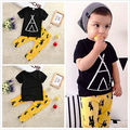 2016 Toddler Baby Boy Girls Tops Short  Sleeve  Geometric T-shirt+Cartoon Pants Outfit Set Sleepwear Pajamas Clothing