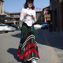 Summer Fashion Vintage Plaid  Print Party Maxi Skirt  Slim High Waist Beach Long Pleated Skirts for Women Ladies