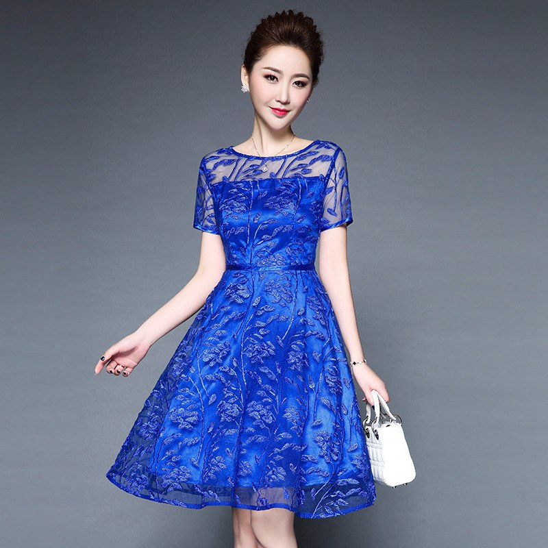 0062d3d0235c Elegant Embroidery Summer Dress Women Floral Embroidered Lace Blue Short  Sleeve Knee-Length Party Dresses Vestido Plus Size 4XL