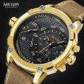 Männer Lederband Quarz Armbanduhren Sport Doppel Zeit Zone Chronograph Stoppuhr Uhr Armee Relogios Masculino 2093GGD-in Quarz-Uhren aus Uhren bei