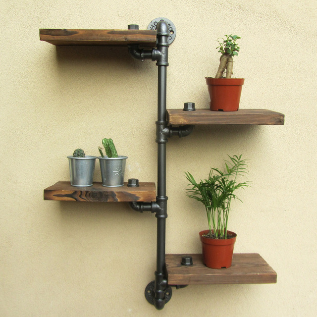 Industrial Rustic Urban Iron Pipe Wall Shelf 4 Tiers Wooden Board Shelving  Home Restaurant Bar Shop