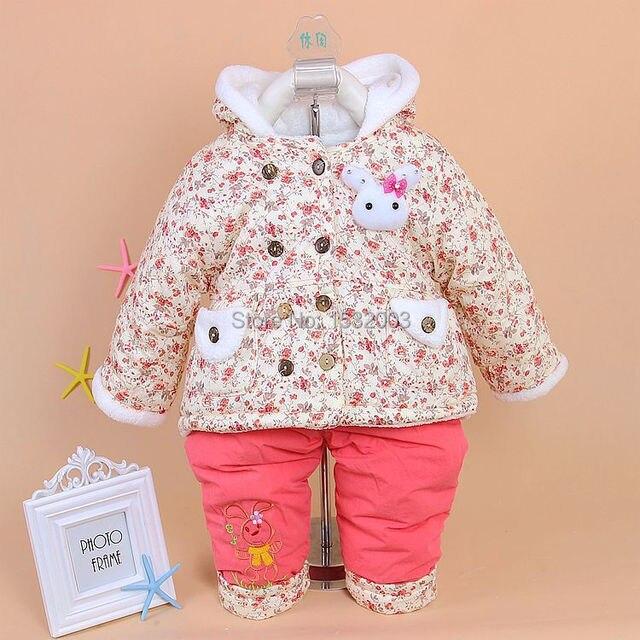 7dcf2059da Conjunto Moleton Menina Newborn Cotton Coat 2 Pcs Sets Baby Clothing Warm  Outerwear Gris Winter Clothes