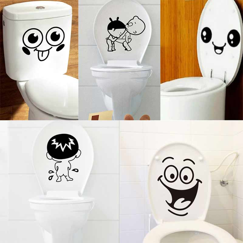 Bathroom Wall Stickers For Toilet Home Decoration Waterproof Wall Decors For Toilet Sticker Vinyl Cartoon Home Decor