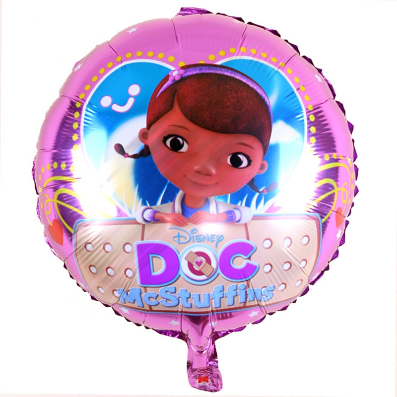 5pcs little toy doctor clinic balloons pink Doc McStuffins balloons for happy bi
