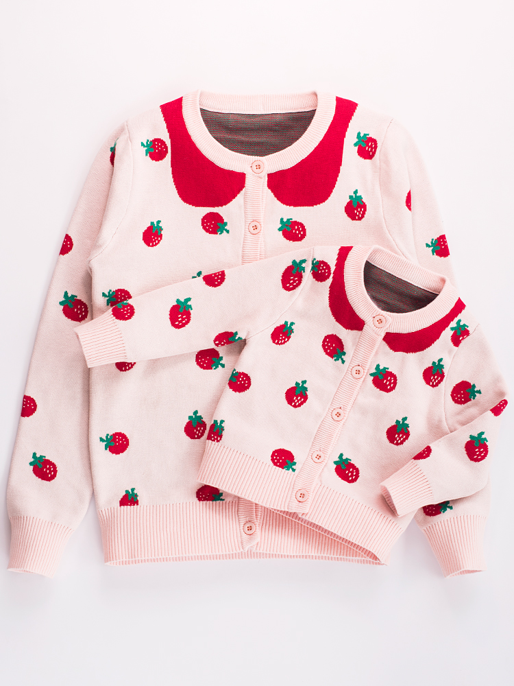 2019 Spring&Autumn New Family Matching Outfits Thickened Double layer Cotton Strawberry Knitted Cardigan Sweater Korean Version