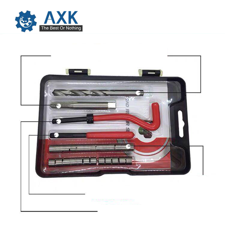 M9-M14 Car Pro Coil Drill Tool Metric Thread Repair Insert Kits Helicoil Car Repair Tools Coarse Crowbar Screw Tooth Repair Kit