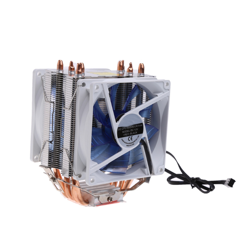 12V Dual CPU Cooler Blue LED 3Pin Fan Aluminum Heatsink For Intel LGA775 AMD AM3 - L059 New hot new pc cpu cooler cooling fan heatsink for intel lga775 1155 amd am2 am3 a97