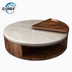 Okrągły wzór naturalny marmur górny drewniany stolik mały boczny stół narożny nowoczesny okrągły stół centralny do salonu