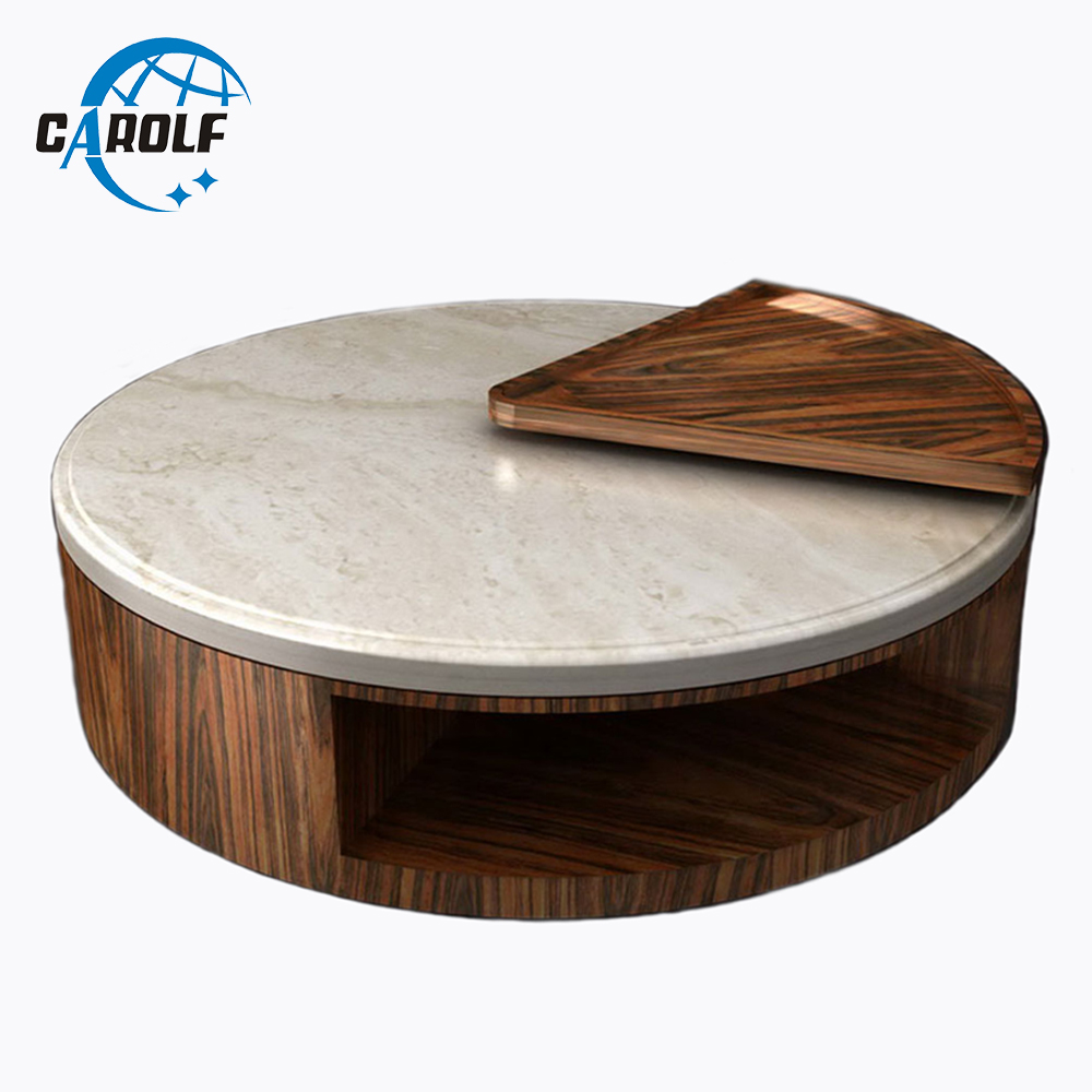 Round Design Natural Marble Top Wooden Coffee Table Small Side