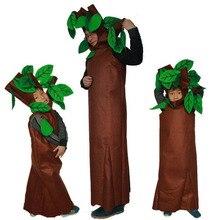 Вечерние костюмы зеленого цвета на Хэллоуин для взрослых и детей; детская одежда для костюмированной вечеринки с рисунком деревьев; карнавальный костюм; семейный костюм