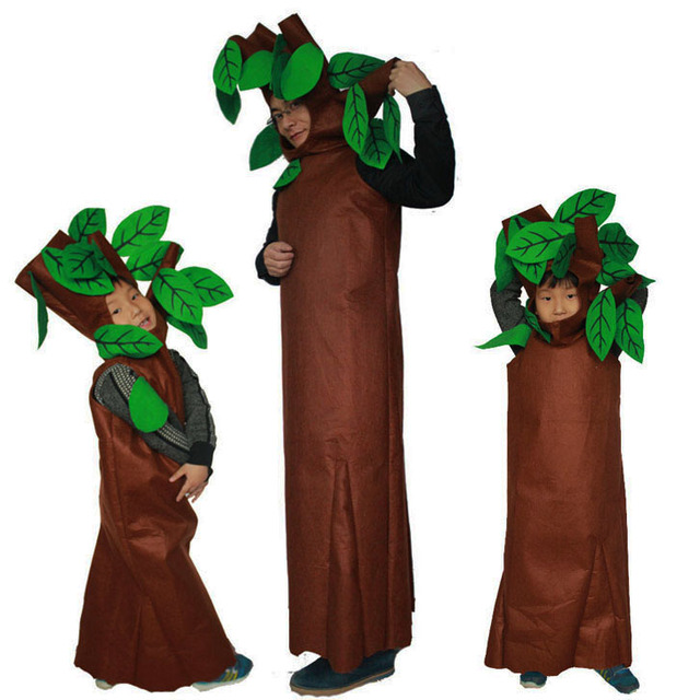 Volwassenen en Kids Halloween Party Groen Kostuums kinderen Bomen Cosplay Kleding Party Kostuum Familie Pak