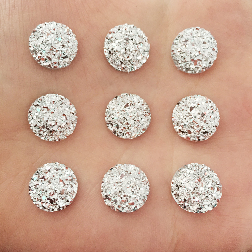 Artesanato 80PCS 12 mm of mineral surface flat ROUND resin DIY craft manualidades D679 ...