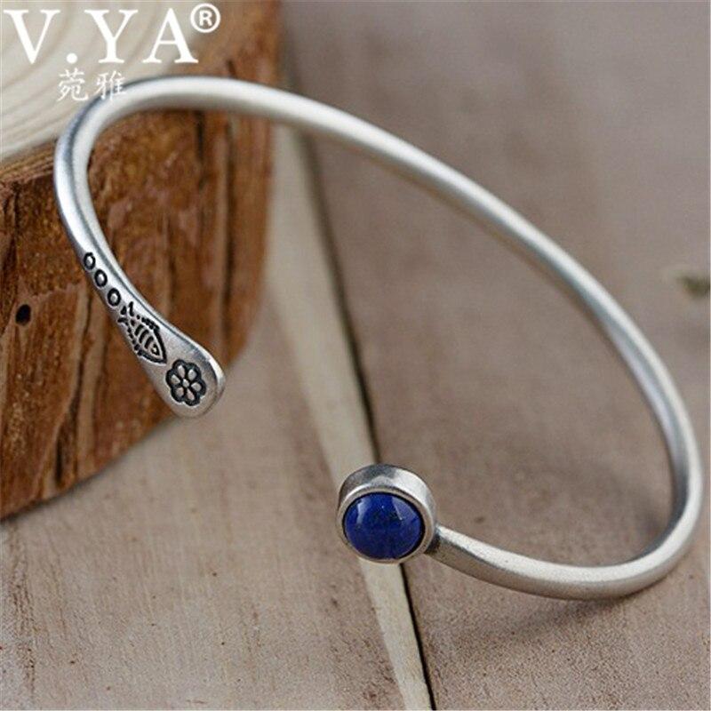 V.YA Blue Lapis lazuli Stone Bracelets Bangles for Women Ladies 100% 925 Sterling Silver Bangle Jewelry High Quality