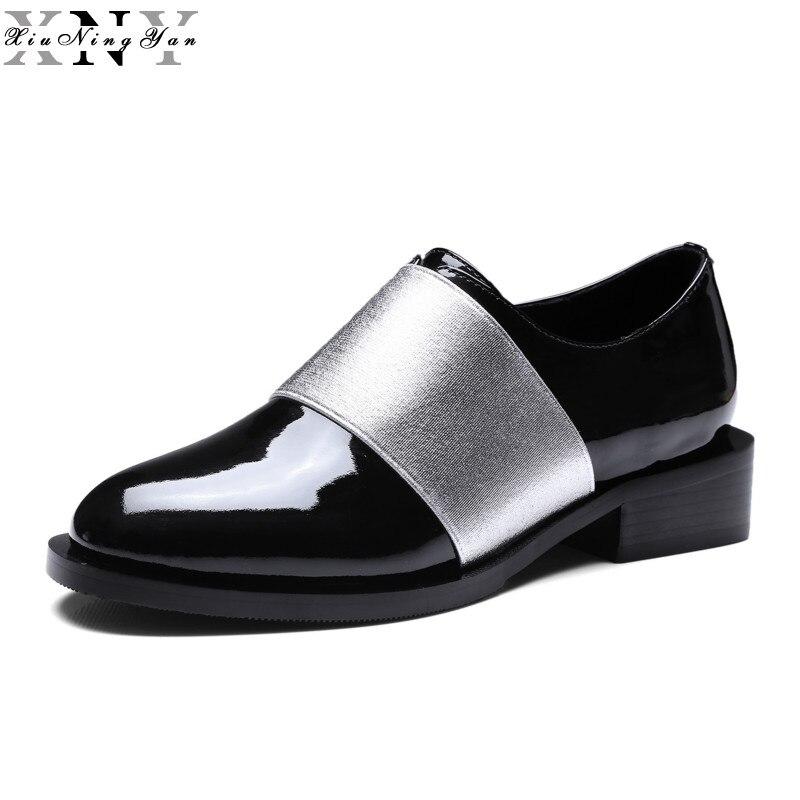 XiuNingYan New Fashion Genuine Leather Round Toe Women Flats Comfortable Soft Loafers Casual Women <font><b>Oxfords</b></font> <font><b>Shoes</b></font> Girls <font><b>Shoes</b></font>