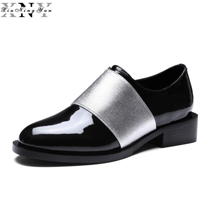 Xiuningyan الموضة جلد طبيعي جولة تو إمرأة شق المتسكعون عارضة النساء أوكسفورد مريحة لينة أحذية الفتيات الأحذية-في أحذية نسائية مسطحة من أحذية على  مجموعة 1