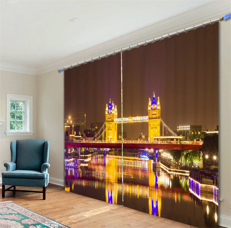 Modern Luxury London Bridge at night 3D Blackout Window Curtains For Bedding room Living room Hotel Drapes CortinasModern Luxury London Bridge at night 3D Blackout Window Curtains For Bedding room Living room Hotel Drapes Cortinas