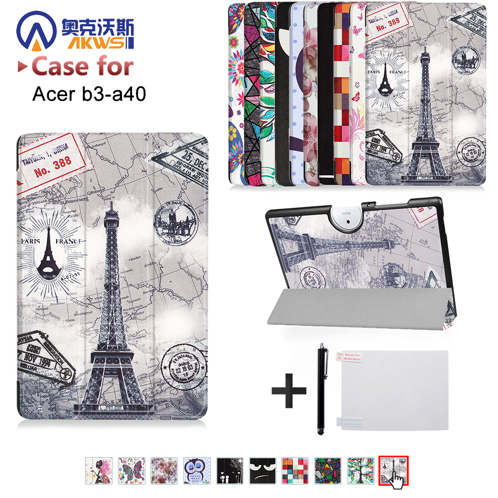 Luxury Ultra Slim Magnetic Folio Stand Flip Leather Case Cover For Acer Iconia One 10 B3-A40 B3 A40 10.1Tablet+free gift slim print case for acer iconia tab 10 a3 a40 one 10 b3 a30 10 1 inch tablet pu leather case folding stand cover screen film pen