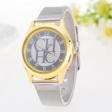 2015 New Brand Silver Geneva Casual Quartz Watch Women Metal Mesh Stainless Steel Dress Watches Relogio Feminino Clock Hot Sale