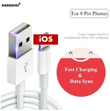 EGEEDIGI 8PinUSB Cable For iPhone Xs Max Xr 2.4A Fast Charging USB Charger Data for 8 7 6Plus Charge Cord