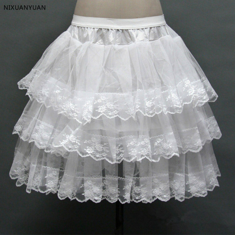 Short Petticoat With Lace Edge For Prom Wedding Dress Women A Line Underskirt Bridal Crinoline Petticoat 2019