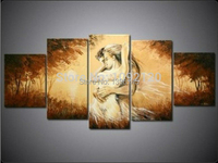 5pcs/set Wall Art People Lover Dream Brown Oil Painting On Canvas Picture By Texture Pictures Home Decor For Living Room