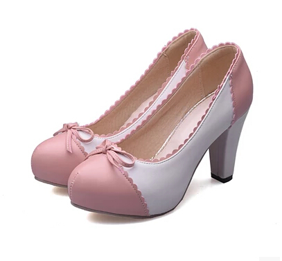 4b133781396 16 spring models sweet bow lace deep mouth thick with high heels with round  trade size