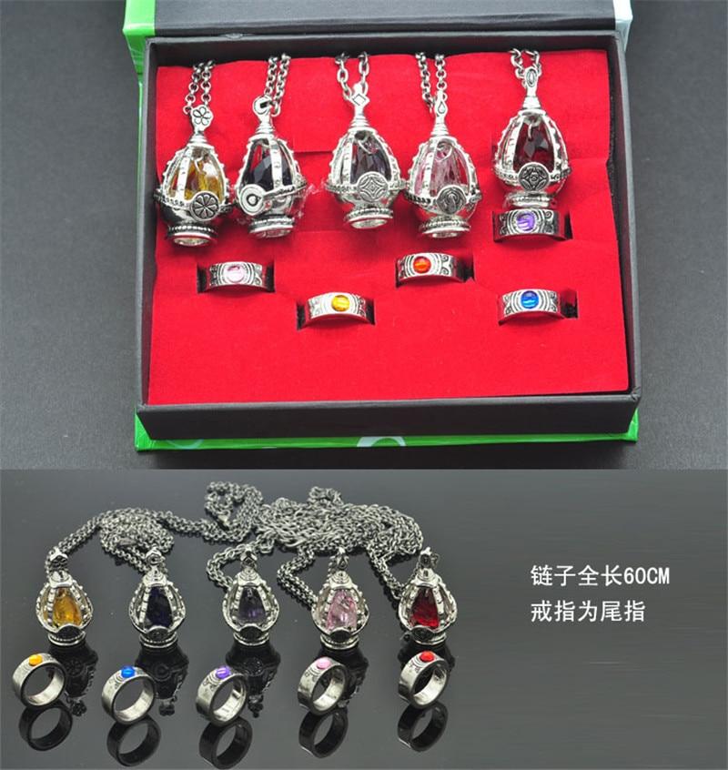 Hot Anime Puella Magi Madoka Magica Soul Gem 5 Necklace+5 Rings Cosplay Gift