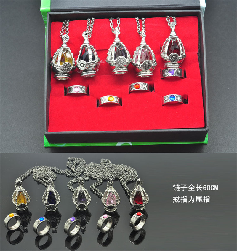 Anime Cosplay Puella Magi Madoka Magica Soul Gem 5 Pendant Necklace + 5 Rings with Box Children Gift Collection Cosplay Costume