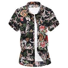 Short sleeve Floral Shirt Men's clothing Slim fit Blouse Men Hawaiian Shirt for Men Summer dress New