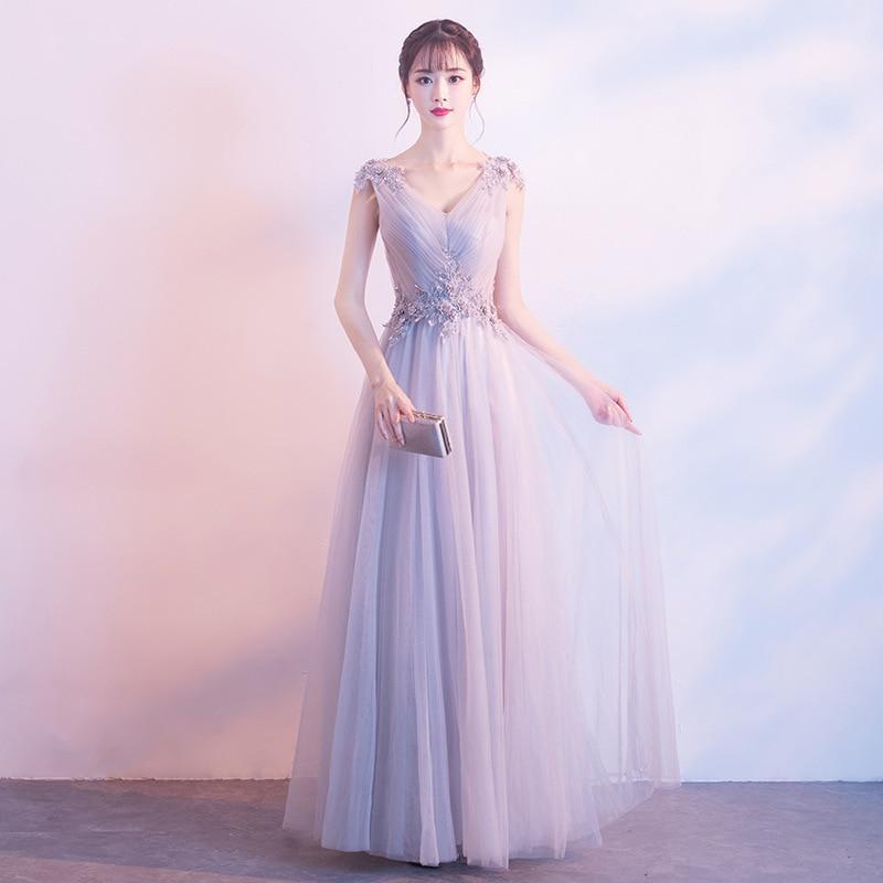Nouveau Sexy lilas a-ligne en mousseline de soie robe de soirée formelle col en v dentelle longue longueur de plancher robes de soirée de bal pour les adolescentes filles sur mesure